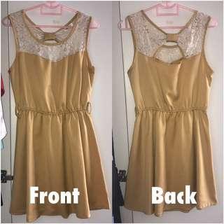 Preloved Sweet Mustard Lace Short Dress