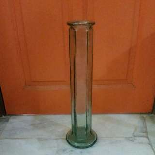 Vintage tall glass vase