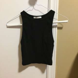 Zara Ribbed Black Crop Top