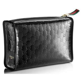 全新 Gucci 新款專櫃禮品 Gift Makeup Pouch Bag 黑色大容量壓花化妝收納袋