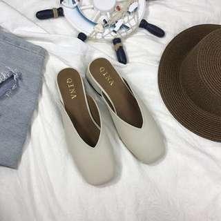 韓國簡約V口拖鞋 / 米白