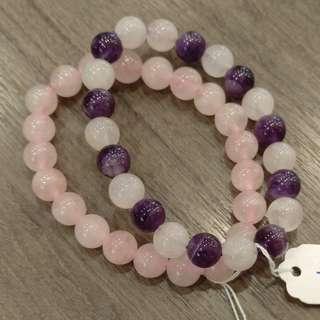 紫水晶手鍊  粉晶手鍊  好人緣  開智慧.
