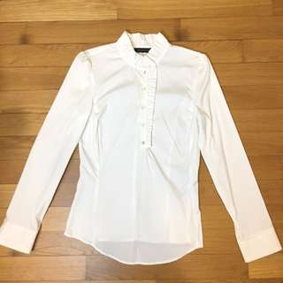 ($59) BN Zara White Formal Office Shirt With Ruffled Collar Size S