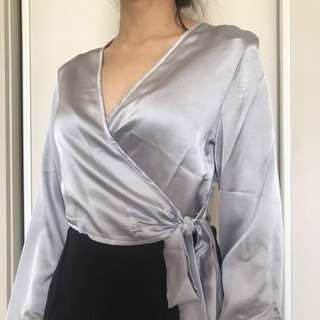 MISSGUIDED silk satin tie up blouse