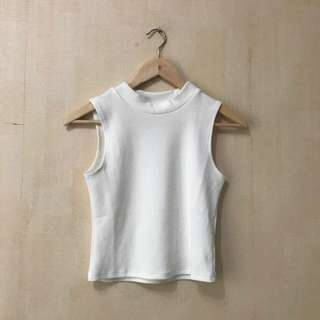 POMELO - Mock Neck Tank White