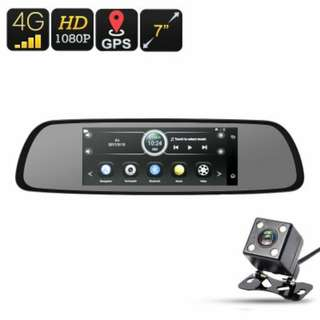 4G Car DVR - Android OS, 1080p Camera, Rear-View Parking Camera, 7-Inch Display, GPS, WiFi, Google Play, Quad-Core, G-Sensor (CVABR-C573)