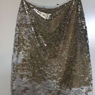 Topshop Sequin Pencil Midi Skirt