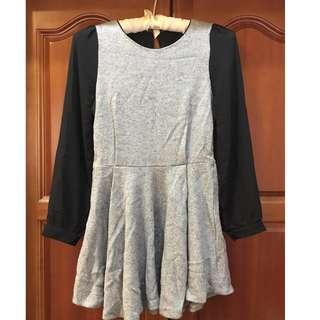 灰色拼接雪紡袖洋裝