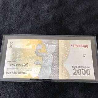 Bank Indonesia Dua Ribu Rupiah 2000 With Solid 9
