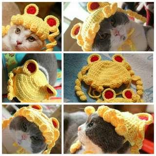 【現貨】 貓咪 美少女戰士 辮子頭 寵物 針織帽 假髮 寵物 變裝 帽子 搞怪頭飾 村姑頭 毛小孩 帽子 賣萌 手工編織
