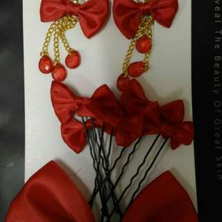 Red Earring and Hair clip set