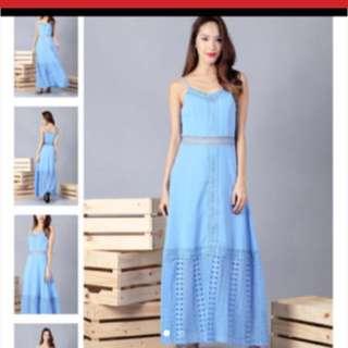 Ohvola blue crochet maxi dress