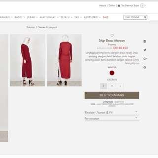 Stigr dress maroon merk havva by hijabenka. Tunik maroon havva hijabenka