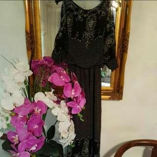 Slit sleeves printed maxi dress