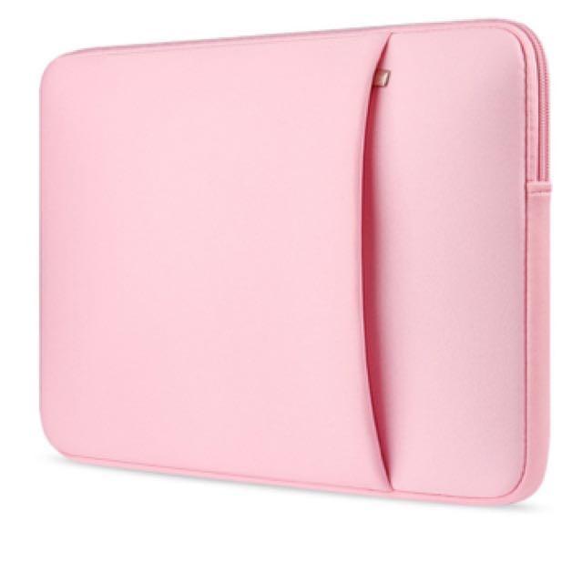 "15.6"" Laptop Sleeve w/ pocket (pink)"