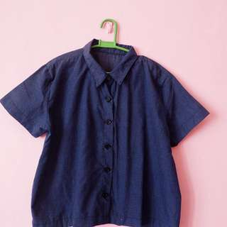 Dark Blue Collared Cropped Top