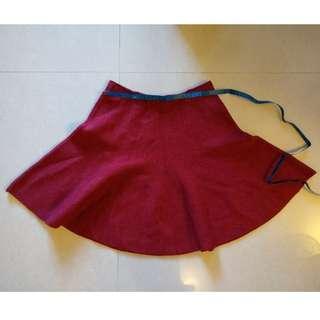 冬天紅色女裝短裙 上班/ 返工 厚料 貴氣