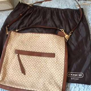 Coach beige cotton shoulder bag