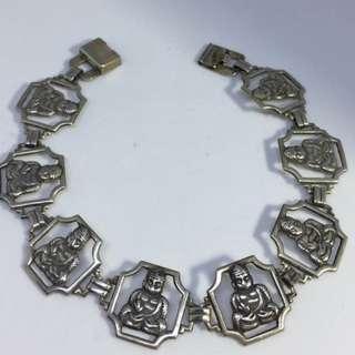 Antique Vintage  Buddha Framed Pictural Sterling Silver Link Bracelet RARE WI ORIGINAL CLASP