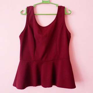Maroon Top With Ribbon At The Back