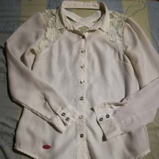 Candie's White Laced Longsleeve Polo