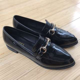 Black loafers with gold detail EU Size 38/AU Size 6.5