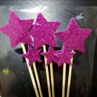 Pink Star Cake Toppers Glitter Party Cake Decorations
