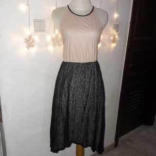 Dress party peach & lace black