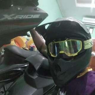Helm Ory Kawasaki KLX. Ukuran L Cat Ulang Warna Hitam Dop. + Google Snail