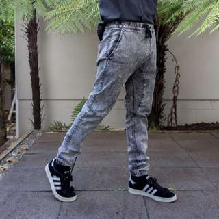 Acid Wash Denim Joggers
