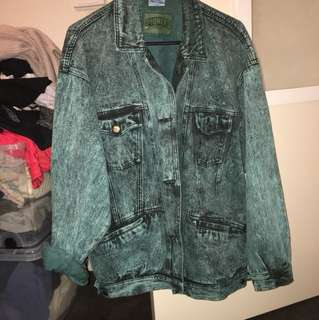 Vintage Pioneer green acid wash denim jacket