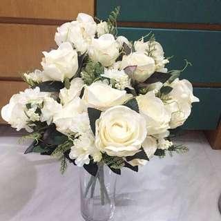 婚後物資 米白色牡丹花絲花