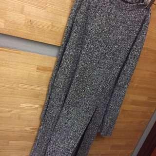 灰色 長版 開叉 毛衣