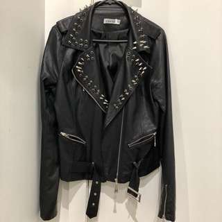 Faux leather studded/spiked biker jacket