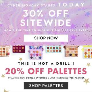 COLOURPOP 30% OFF SITEWIDE CYBER MONDAY SALES EXTENSION