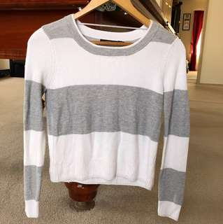 Portmans Grey and White Striped Crop Jumper - Size S