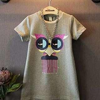 Girls fashion leisure Funny cartoon pattern T-shirt/女童时尚休闲搞怪卡通图案中长款T-shirt