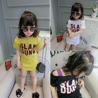 Girl dress dress sticks in long t-shirt/女童连衣裙字母露肩中长款t恤