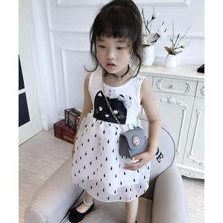Girl cartoon sleeveless princess skirt / 女童卡通无袖连衣裙公主背心裙