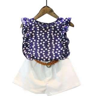 Girls Korean Chiffon Floral Vest Tops + Belt Shorts 2pc Set / 女童韩碎花背心上衣+腰带短裤
