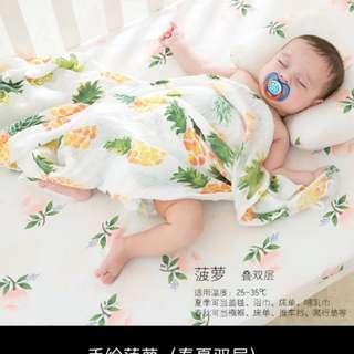 竹纖維手繪包巾 柔軟浴巾 嬰兒蓋毯抱被夏季全棉紗布