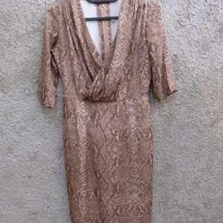 Brown dress midi motif kulit ular