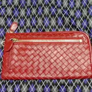 紅羊皮編織長夾