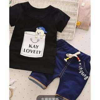 Summer Korean boy Kay Lovely Bear/夏季韩装男童水桶熊套装