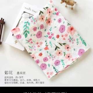 🚚 竹纖維手繪包巾 柔軟浴巾 嬰兒蓋毯抱被夏季全棉紗布