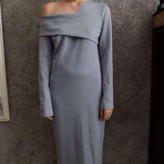 Dress abu asimetri shoulder