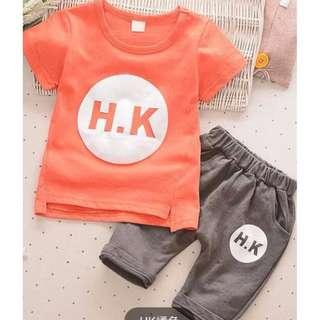 Summer Korean boy HK Wording SET/夏季韩装男童H.K套装