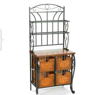 Southern Enterprises Wrought iron With Bakers Rack With Scroll Work,Black Finish