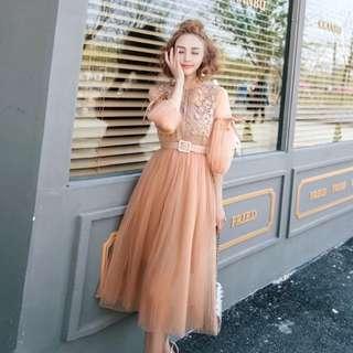 🚚 仙氣十足 藕粉色洋裝