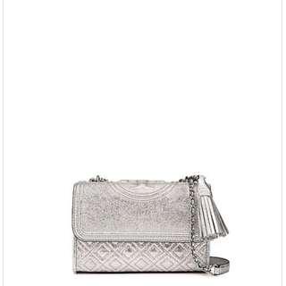 Tory Burch Fleming Metallic Small Convertible Shoulder Bag